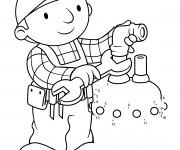 Coloriage Bob le bricoleur entrain de réparer