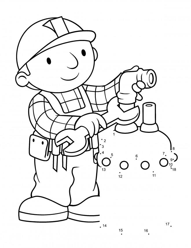 Coloriage et dessins gratuits Bob le bricoleur entrain de réparer à imprimer