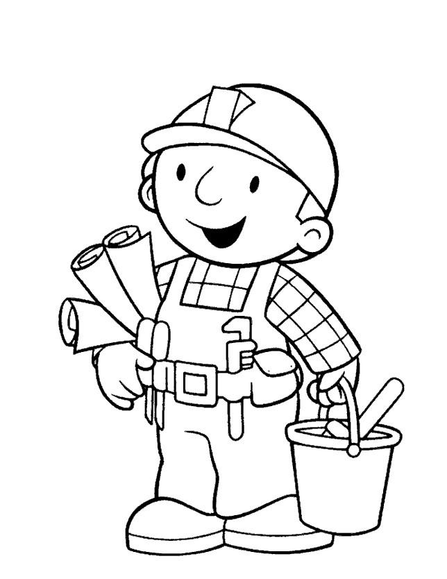 Coloriage et dessins gratuits Bob le bricoleur prêt à travailler à imprimer