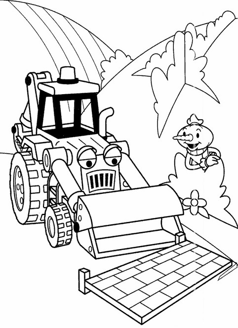 Coloriage et dessins gratuits Bob le bricoleur: Scoup déplace un panneau à imprimer