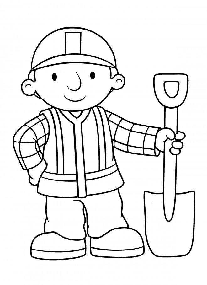 Coloriage et dessins gratuits Bob le bricoleur sourit à imprimer