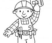 Coloriage Bob le bricoleur tient son plan de construction
