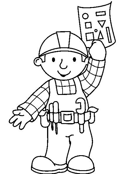 Coloriage et dessins gratuits Bob le bricoleur tient son plan de construction à imprimer