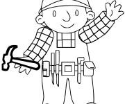 Coloriage Bob le bricoleur tient un marteau