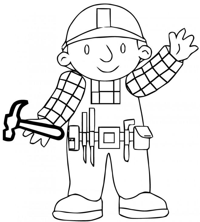 Coloriage et dessins gratuits Bob le bricoleur tient un marteau à imprimer