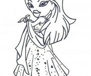 Coloriage Bratz porte une Robe de Princesse