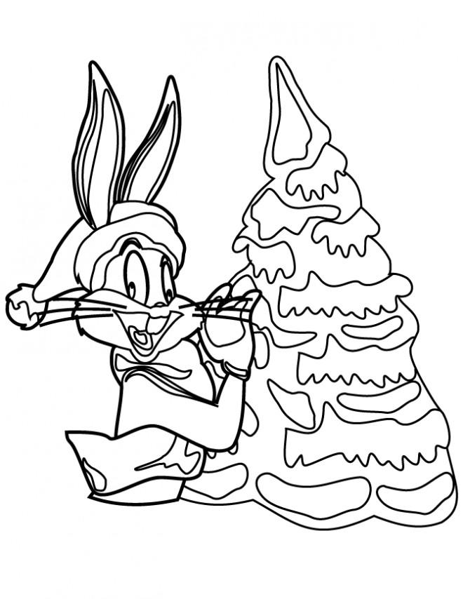 Coloriage et dessins gratuits Bugs Bunny en Noël à imprimer