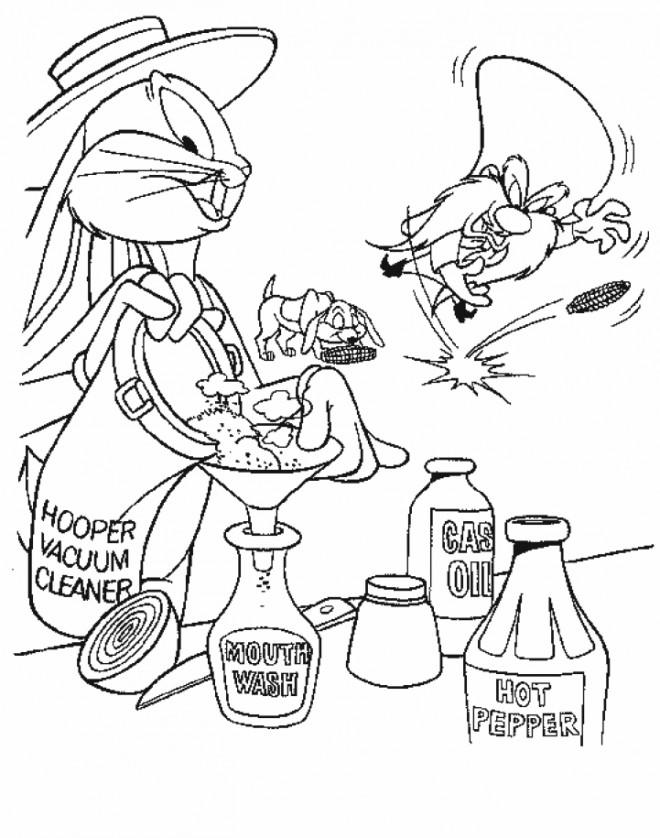 Coloriage et dessins gratuits Bugs Bunny prépare un lotion à imprimer