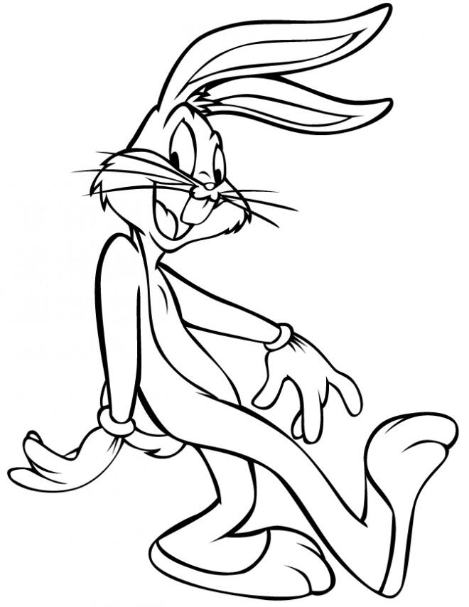Coloriage et dessins gratuits Bugs Bunny sourit à imprimer