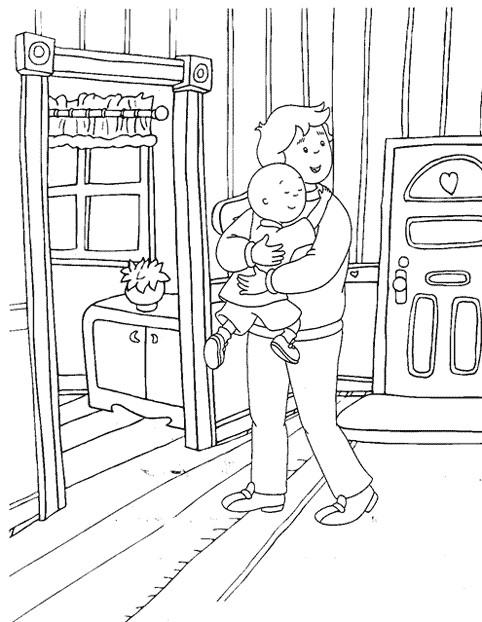 Coloriage et dessins gratuits Caillou aime son père à imprimer