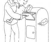 Coloriage et dessins gratuit Caillou envoie une lettre à imprimer