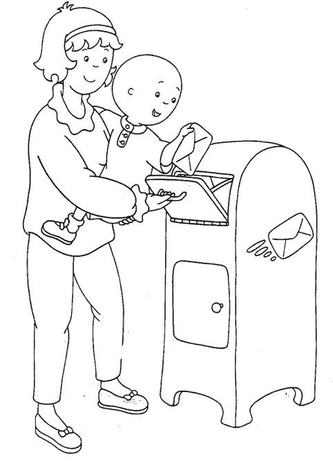 Coloriage et dessins gratuits Caillou envoie une lettre à imprimer