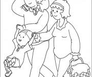 Coloriage Caillou et sa famille