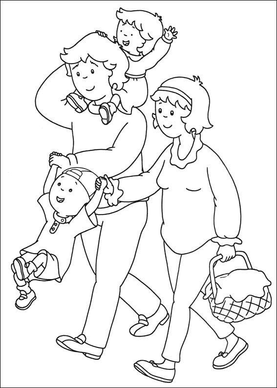 Coloriage et dessins gratuits Caillou et sa famille à imprimer
