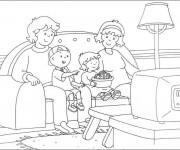 Coloriage Caillou et sa famille regarde la télé