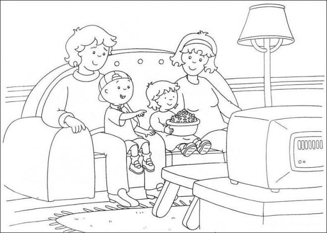 Coloriage et dessins gratuits Caillou et sa famille regarde la télé à imprimer