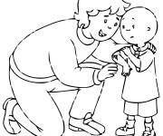 Coloriage et dessins gratuit Caillou et sa maman à imprimer