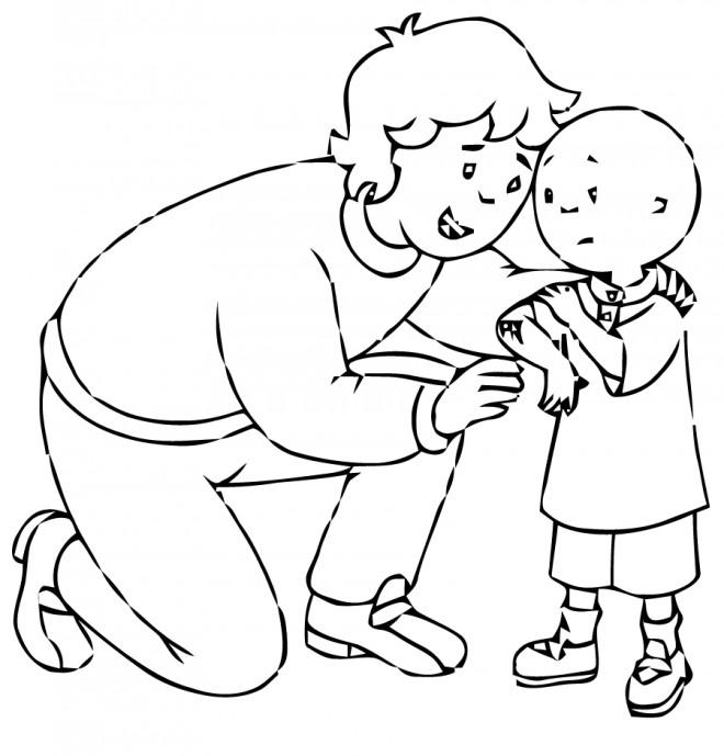 Coloriage et dessins gratuits Caillou et sa maman à imprimer