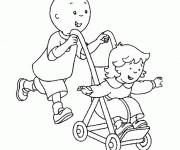 Coloriage et dessins gratuit Caillou et sa soeur à imprimer