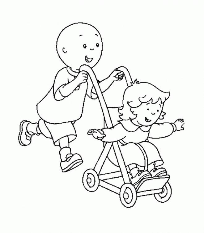 Coloriage et dessins gratuits Caillou et sa soeur à imprimer