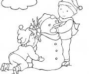 Coloriage Caillou et sa soeur construit l'homme de neig