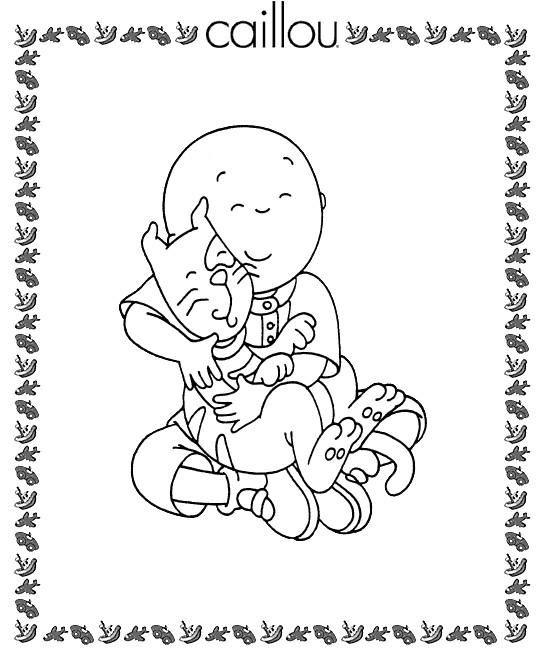 Coloriage et dessins gratuits Caillou et son chat à imprimer
