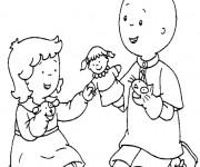 Coloriage Caillou joue avec sa soeur