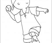Coloriage et dessins gratuit Caillou joue du baseball à imprimer