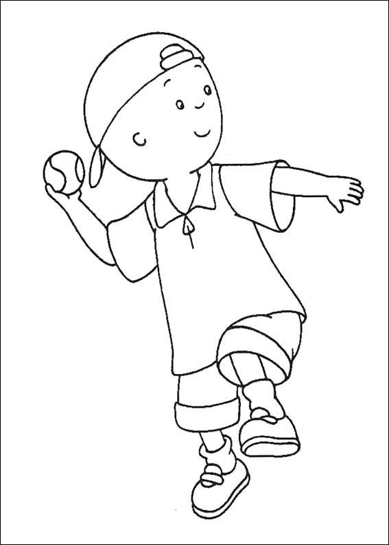 Coloriage et dessins gratuits Caillou joue du baseball à imprimer