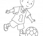 Coloriage Caillou joue du foot