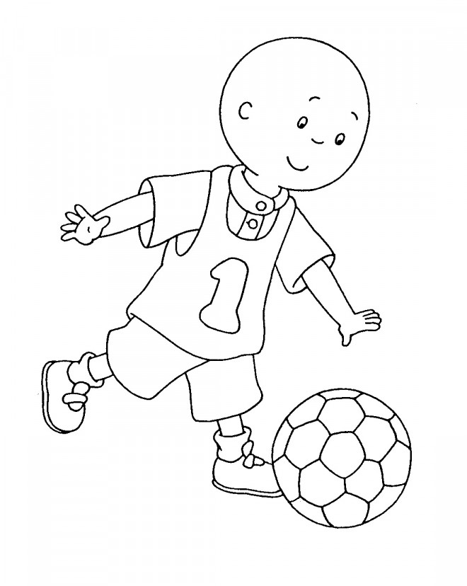 Coloriage et dessins gratuits Caillou joue du foot à imprimer