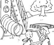 Coloriage et dessins gratuit Caillou s'amuse à imprimer