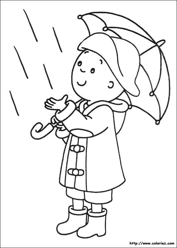 Coloriage et dessins gratuits Caillou touche la pluie à imprimer