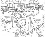 Coloriage et dessins gratuit Caillou va à l'école à imprimer