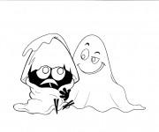Coloriage et dessins gratuit Calimero avec le fantome à imprimer