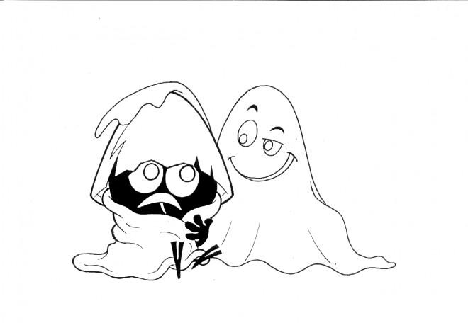 Coloriage et dessins gratuits Calimero avec le fantome à imprimer