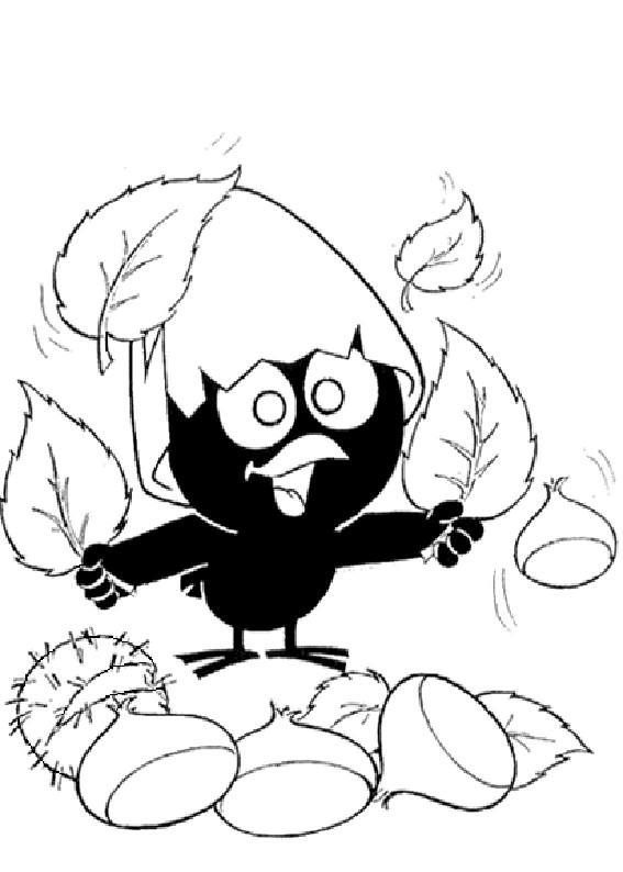 Coloriage et dessins gratuits Calimero collecte des feuilles à imprimer