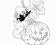 Coloriage Calimero en Halloween