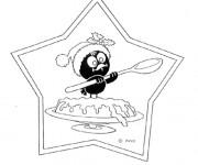 Coloriage Calimero entrain de manger du gateau