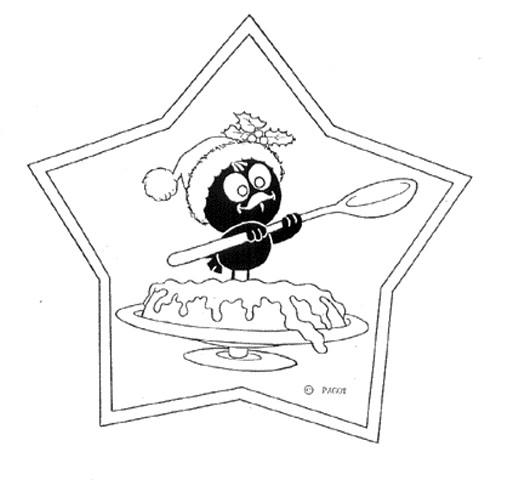 Coloriage et dessins gratuits Calimero entrain de manger du gateau à imprimer