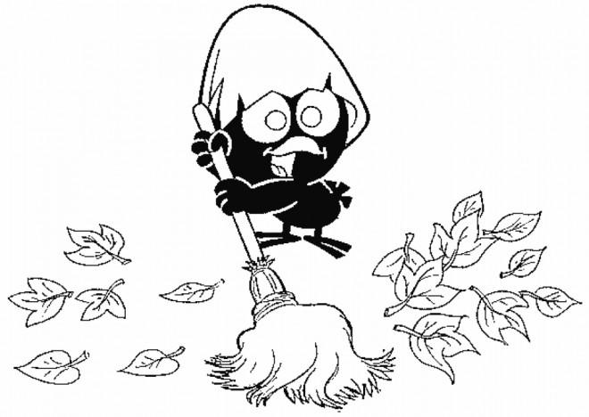 Coloriage et dessins gratuits Calimero entrain de nettoyer à imprimer
