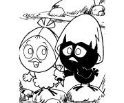 Coloriage et dessins gratuit Calimero et son amie à imprimer