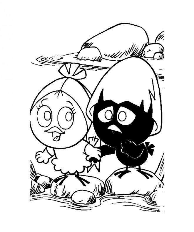 Coloriage et dessins gratuits Calimero et son amie à imprimer