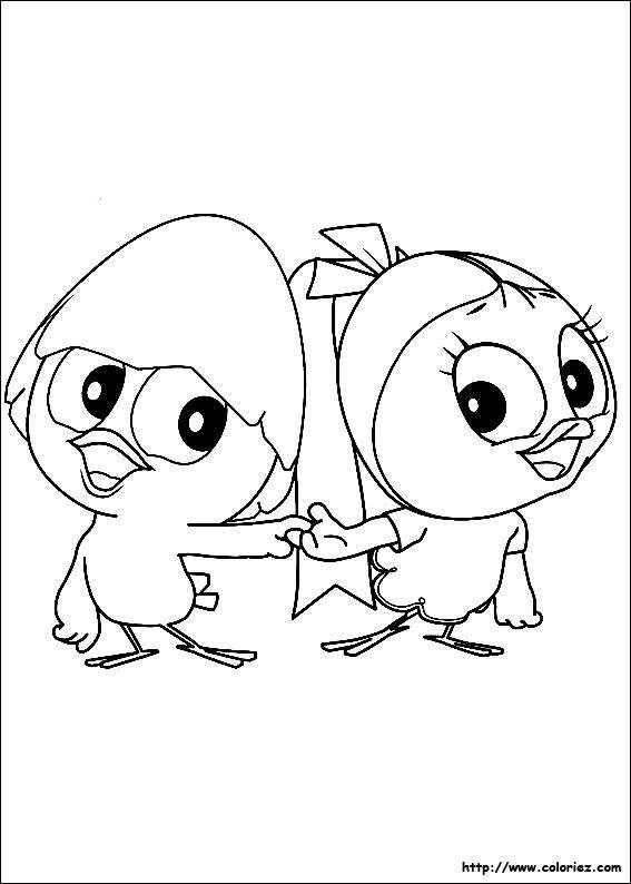 Coloriage et dessins gratuits Calimero et son amie Priscilla à imprimer