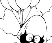 Coloriage Calimero tient des ballons