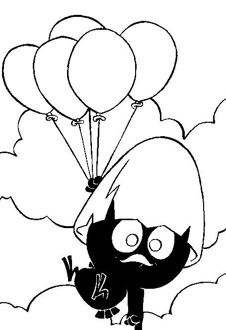 Coloriage et dessins gratuits Calimero tient des ballons à imprimer