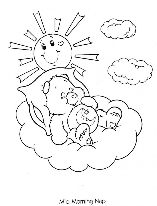 Coloriage et dessins gratuits Bisounours en dormant à imprimer
