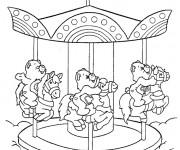 Coloriage et dessins gratuit Bisounours en manège à imprimer