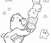 Coloriage et dessins gratuit Bisounours mange de la glace à imprimer