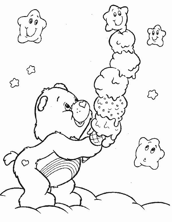 Coloriage et dessins gratuits Bisounours mange de la glace à imprimer